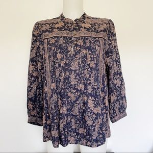 LUCKY BRAND Floral 3/4 Sleeve Blouse Size S